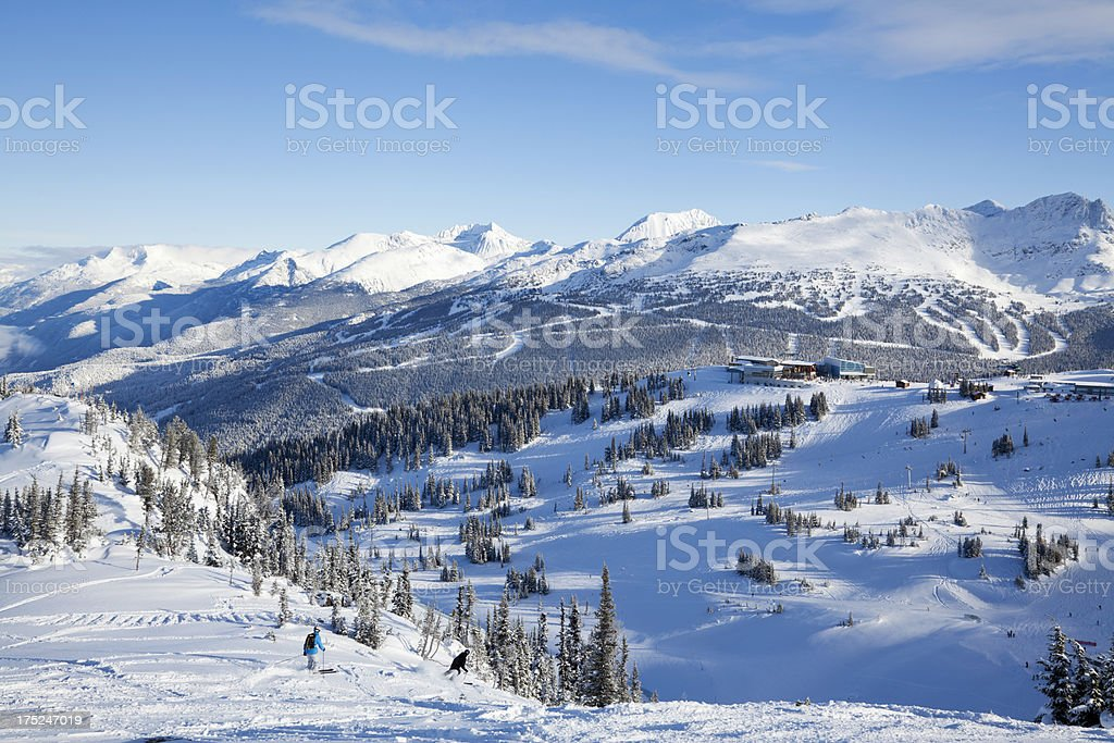 Skiing Off a Ridge at Whistler Mountain royalty-free stock photo
