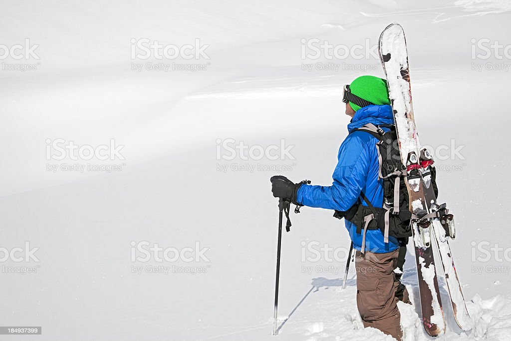 Skiing off-piste stock photo