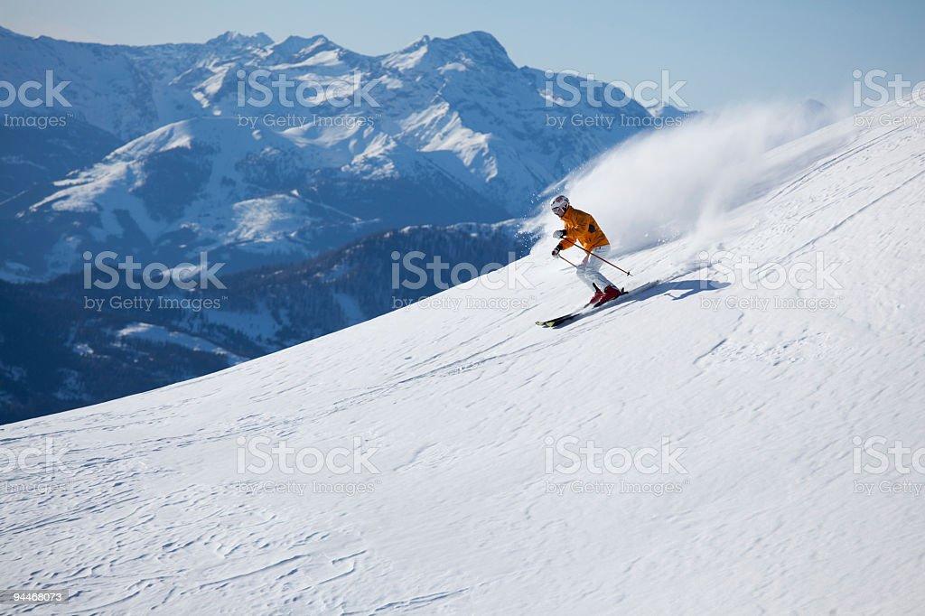 skiing on empty slope royalty-free stock photo