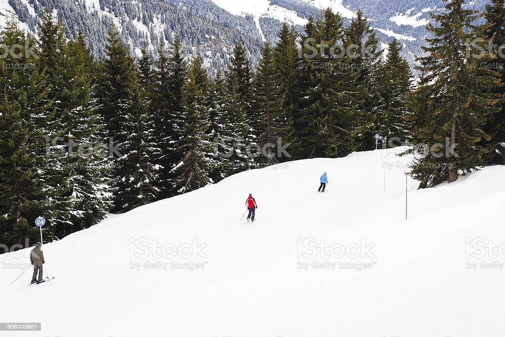 skiing on mountains in Portes du Soleil region stock photo
