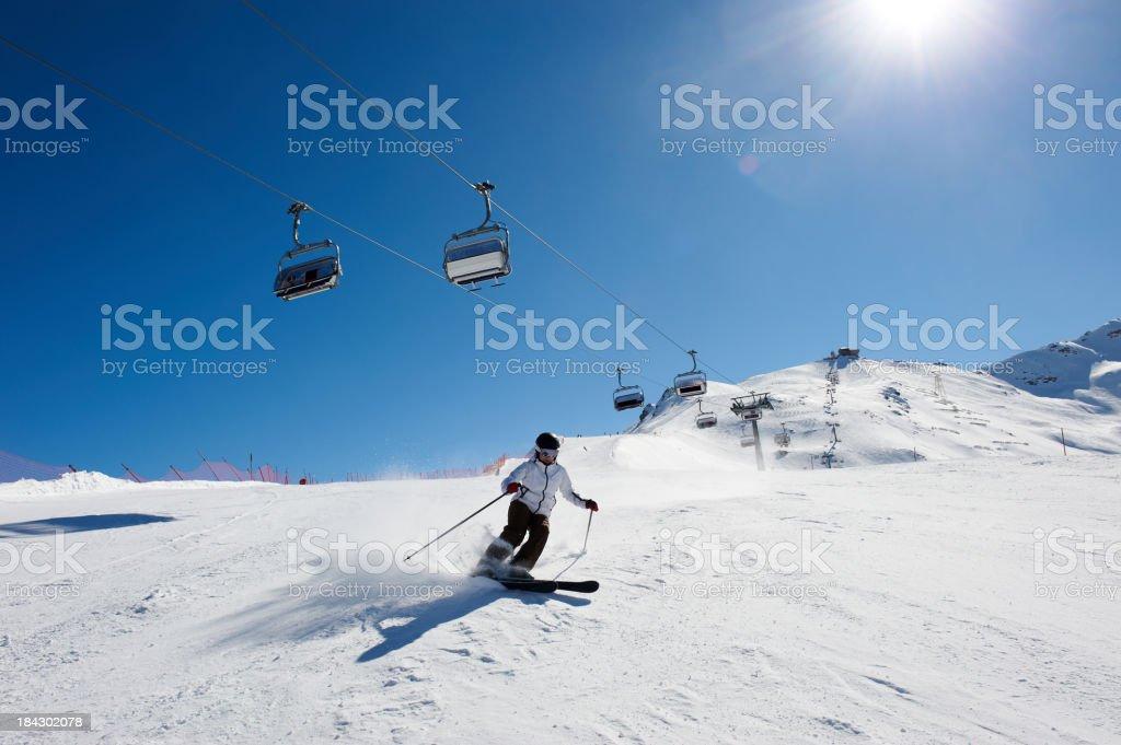 Skiing on mountains stock photo