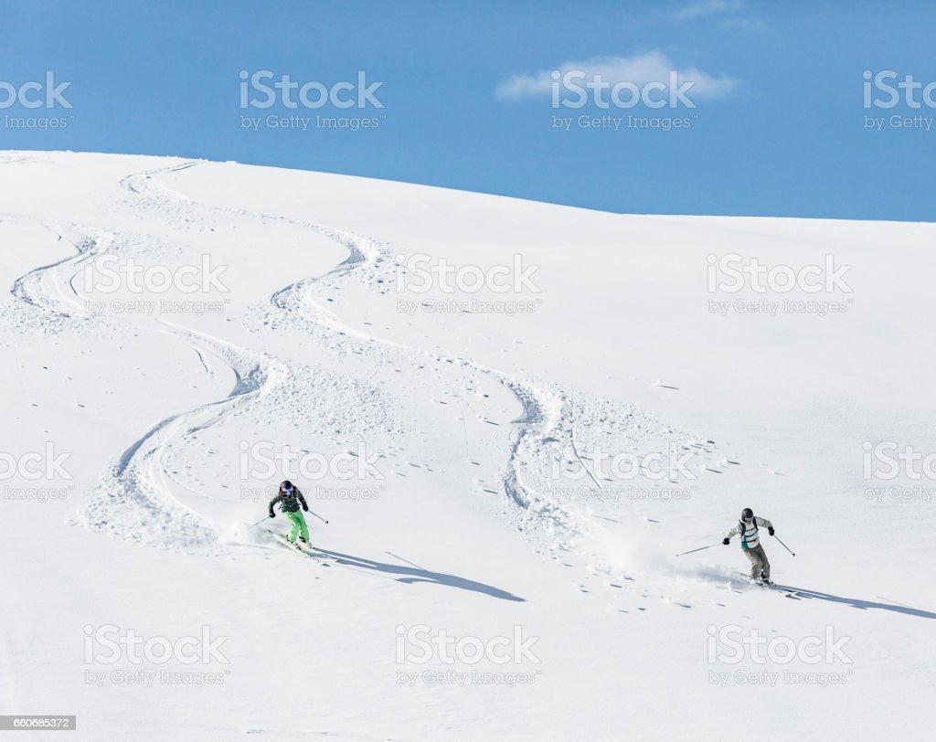 Skiing on powder snow stock photo