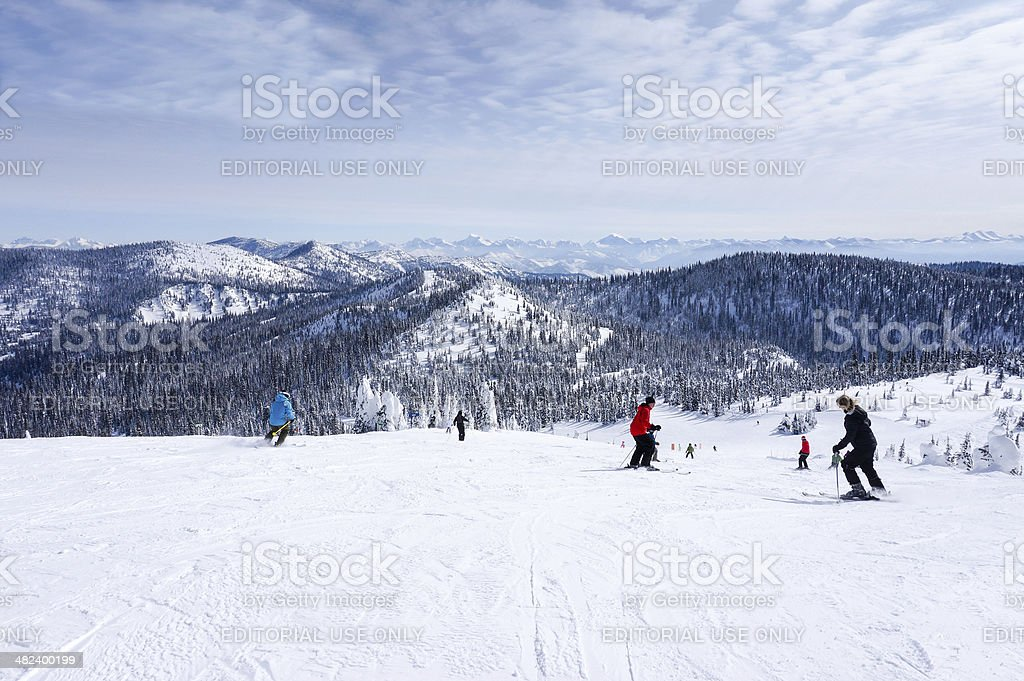 Skiing on The Big Mountain at Whitefish, Montana stock photo