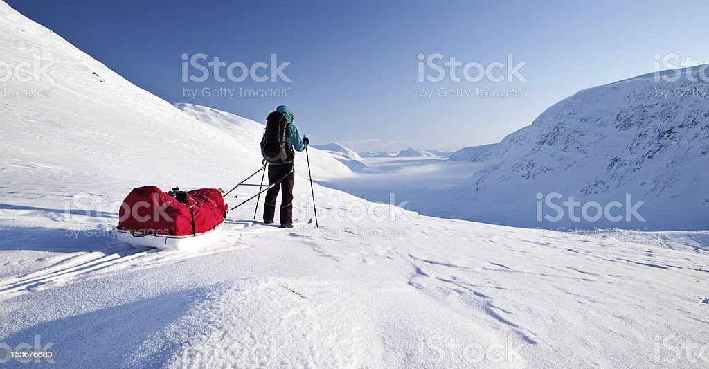 skiing on the Kungsleden royalty-free stock photo