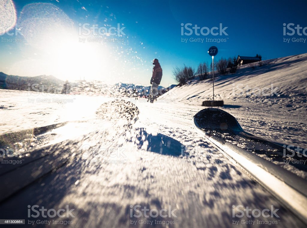Skiing point of view stock photo