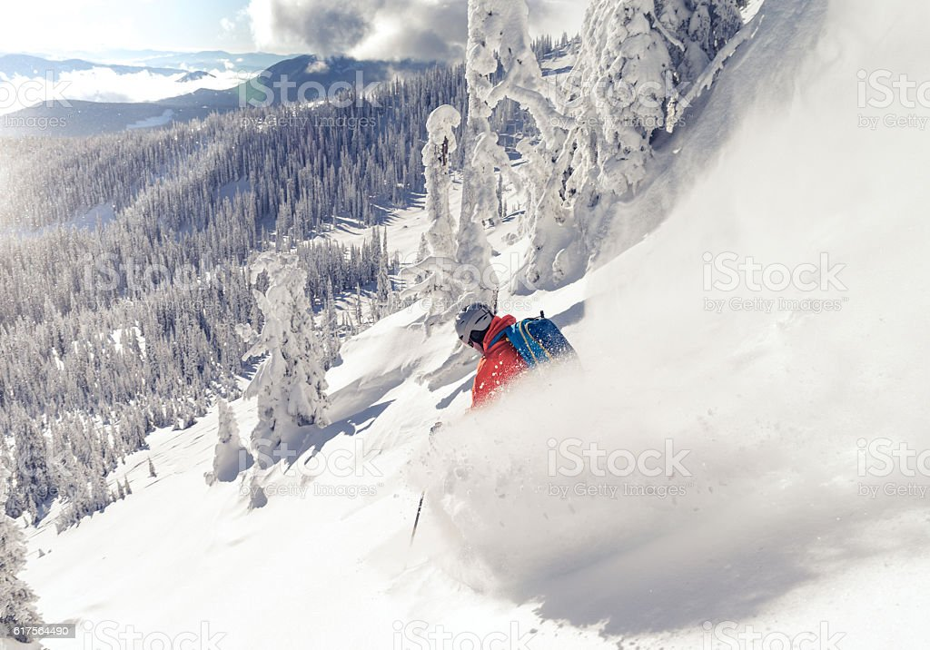 skiing powder stock photo