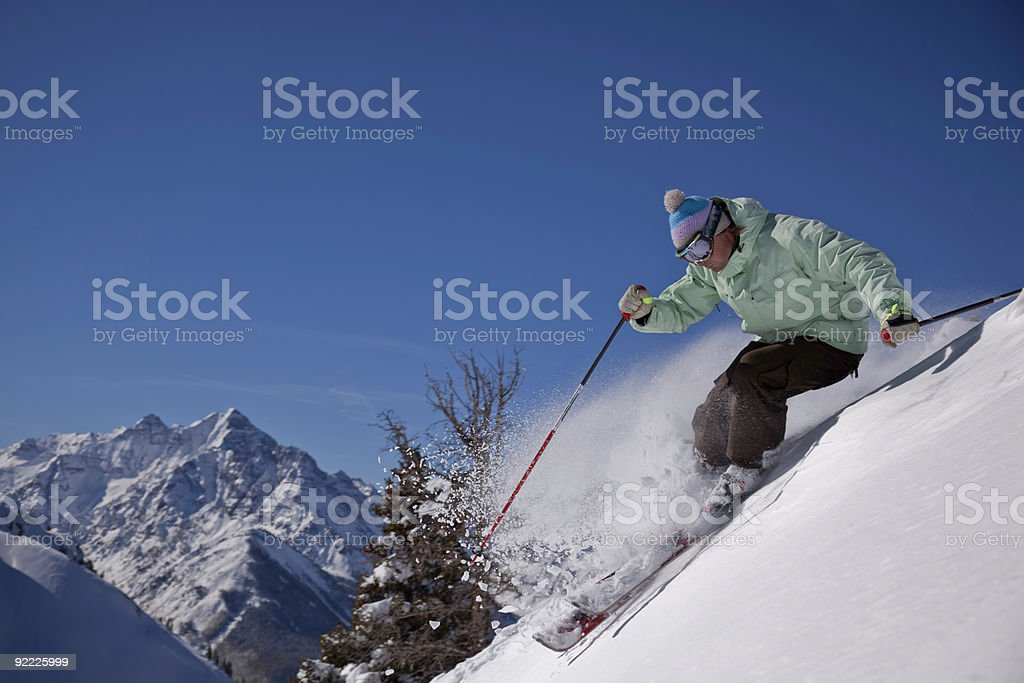 Skiing powder stock photo