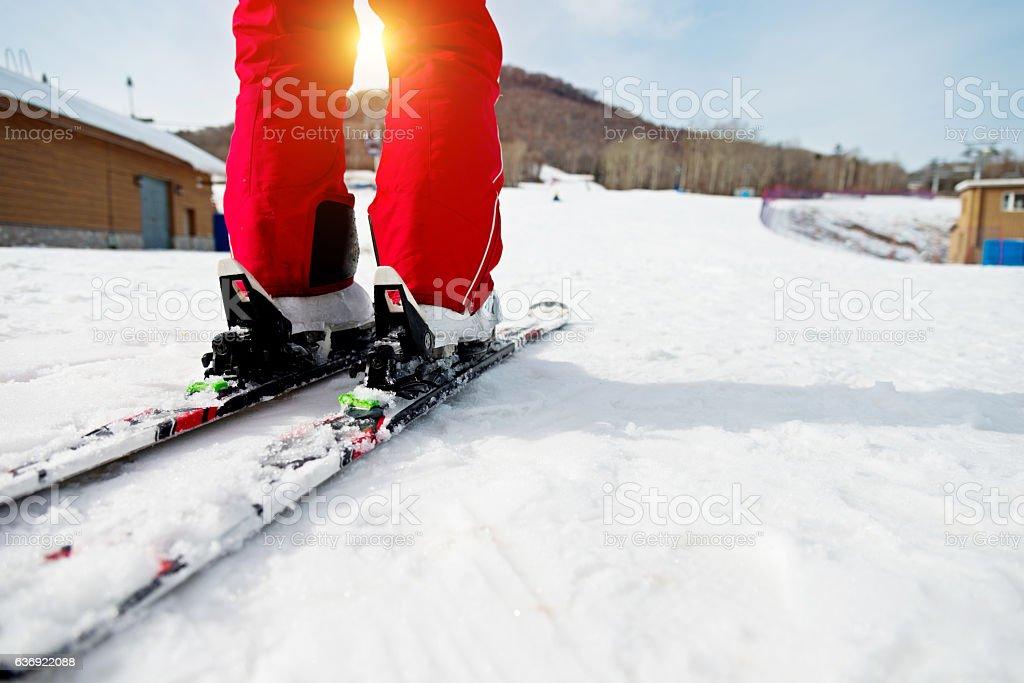 Skiing practice stock photo
