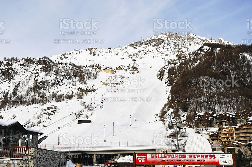 skiing raicing track in town Val d'Isere, France stock photo