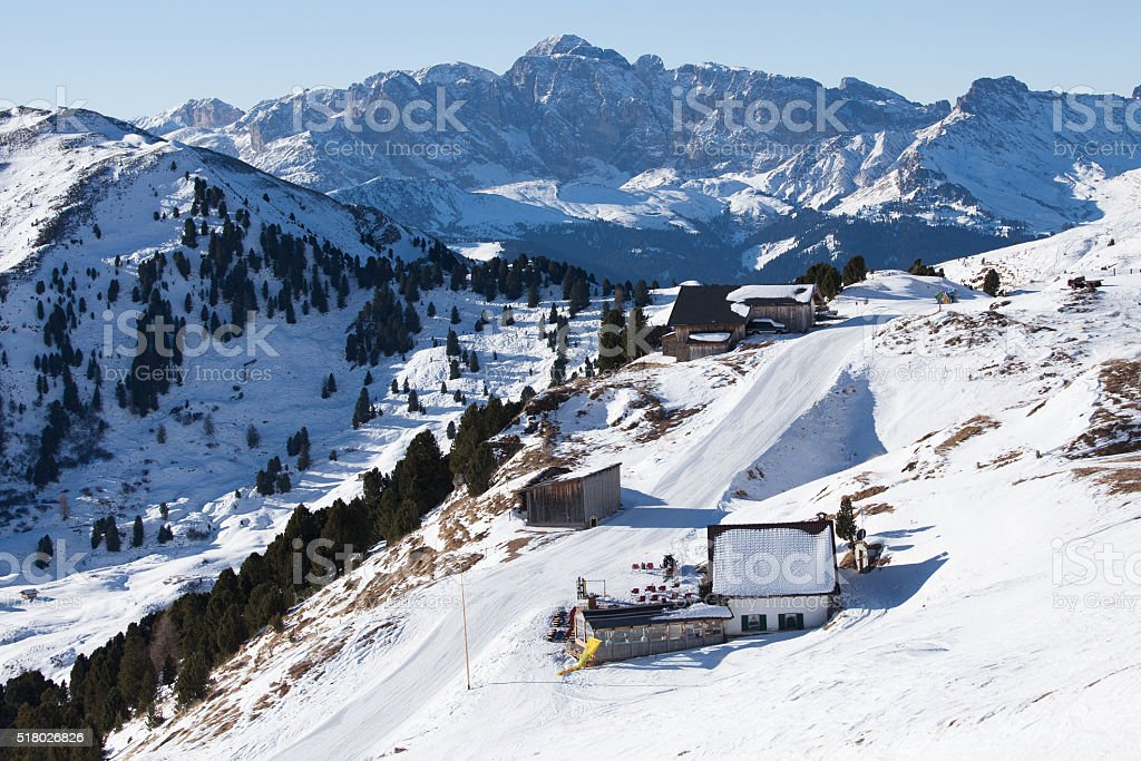 Skiing slope in the Dolomite Alps valley, Italy stock photo