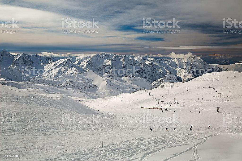 Skiing slopes, majestic Alpine landscape stock photo