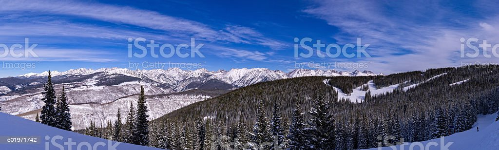 Skiing Snowboarding Vail Gore Range Mountains Colorado stock photo