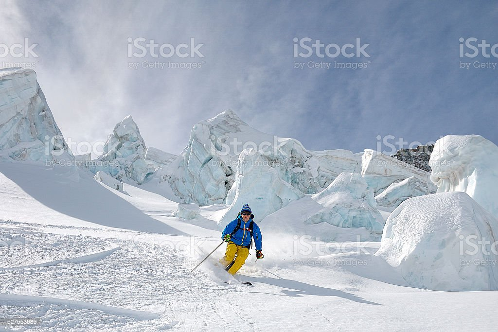 Skiing the glacier - Stock Image stock photo