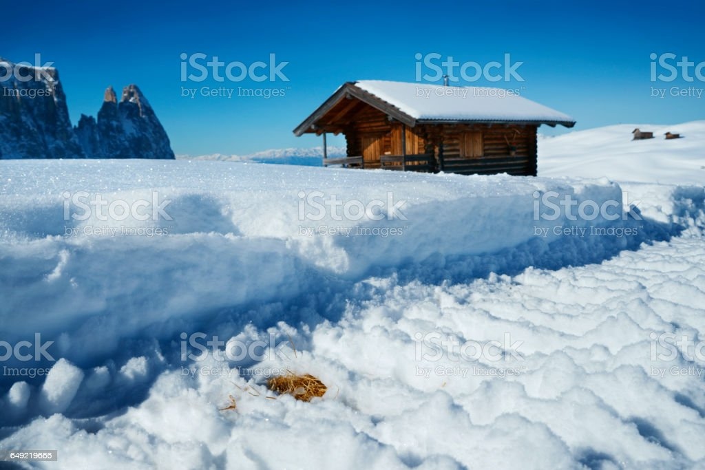 skiing track in snow covered alps landscape with hut stock photo