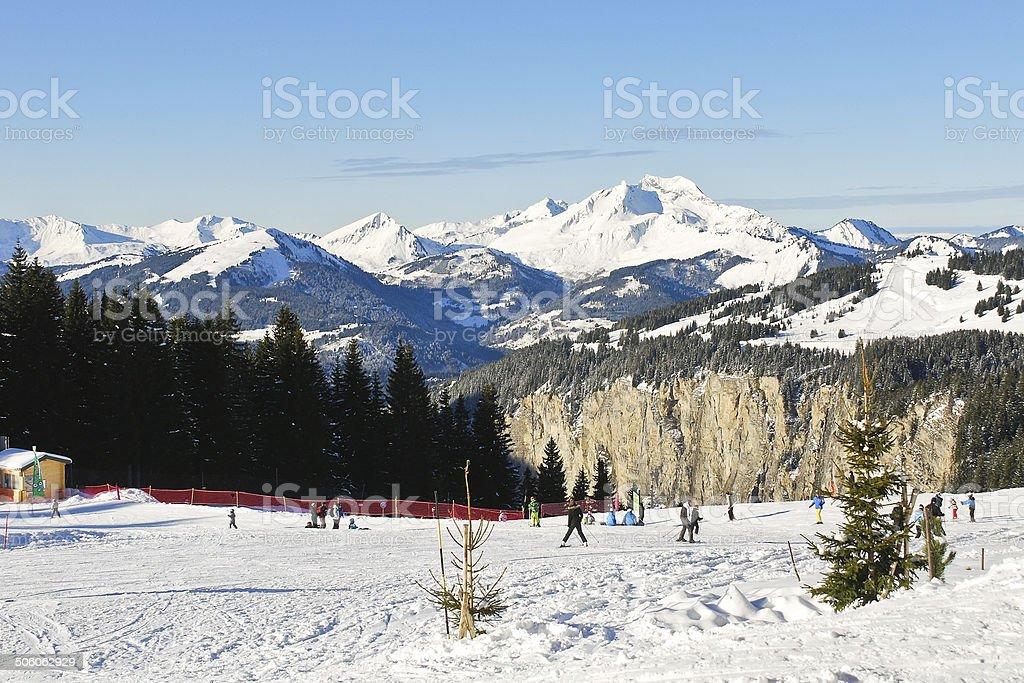skiing tracks on snow in Portes du Soleil area stock photo