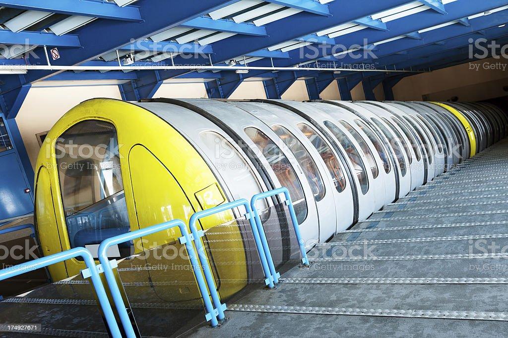 Skiing tunnel train in Tignes royalty-free stock photo