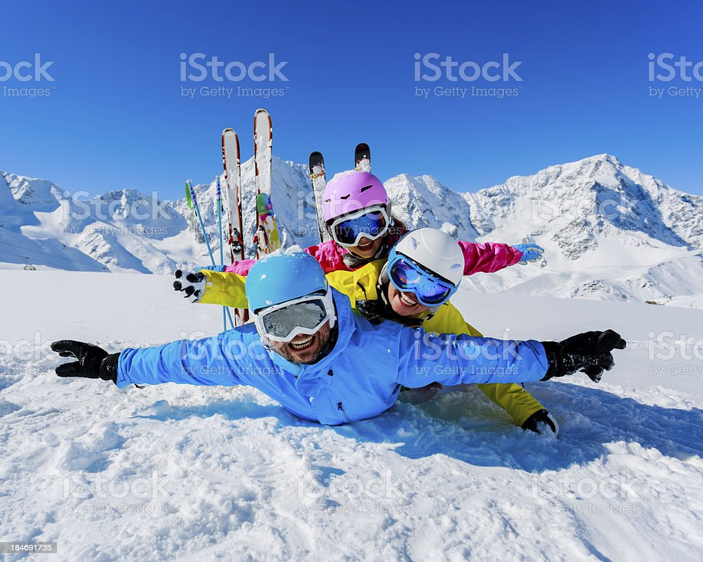 Skiing, winter, snow,  skiers, sun and fun stock photo