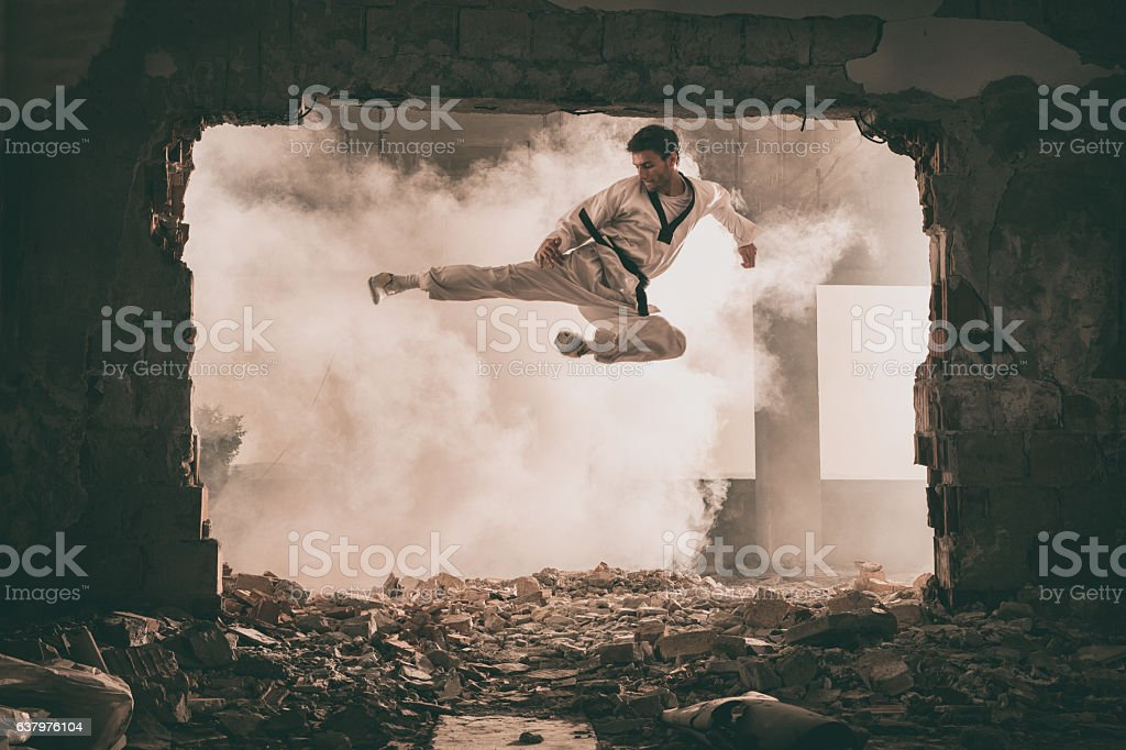 Skilful black belt martial artist performing fly kick. stock photo