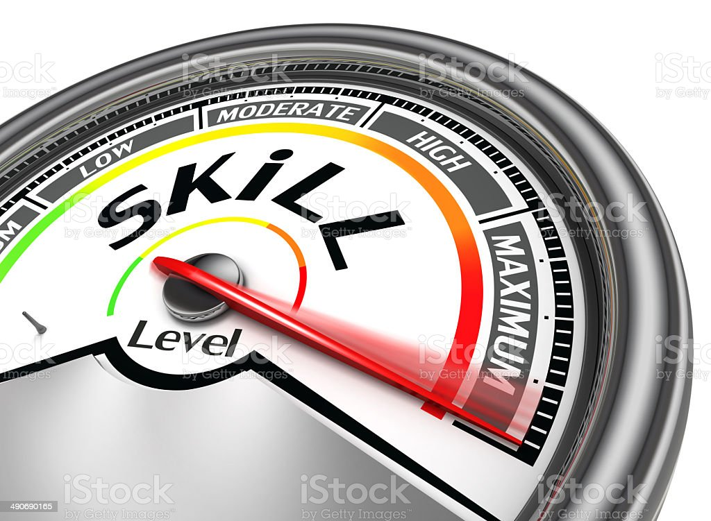 skill level conceptual meter stock photo