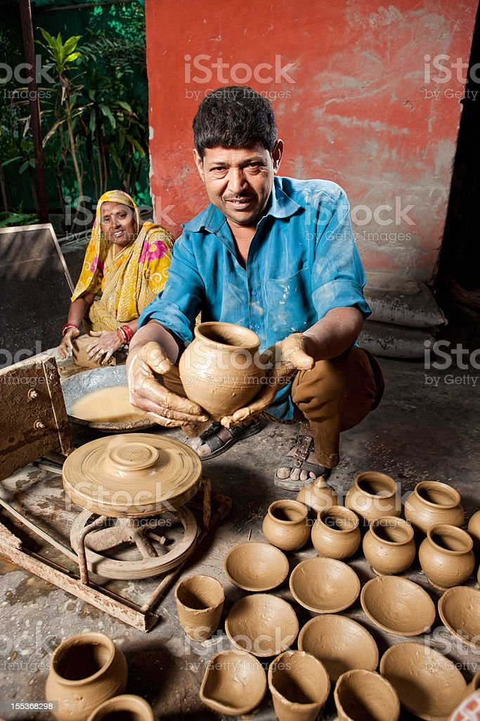 Skilled Indian Potter stock photo