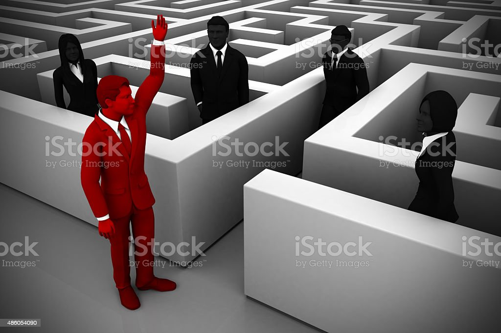 Skilled leader guides the team out of a maze stock photo