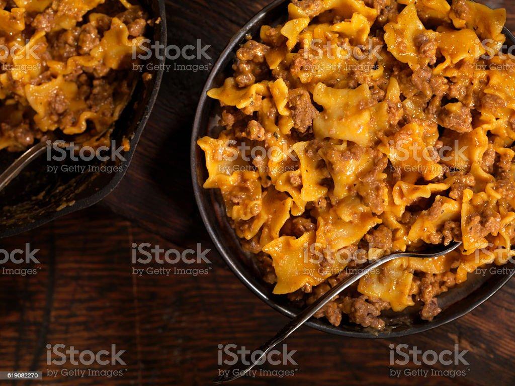 Skillet Cheesy Lasagne stock photo