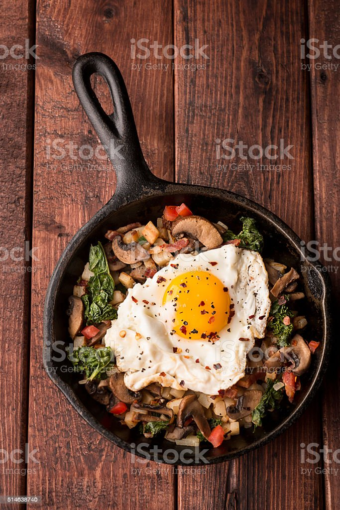 Skillet Egg Breakfast stock photo