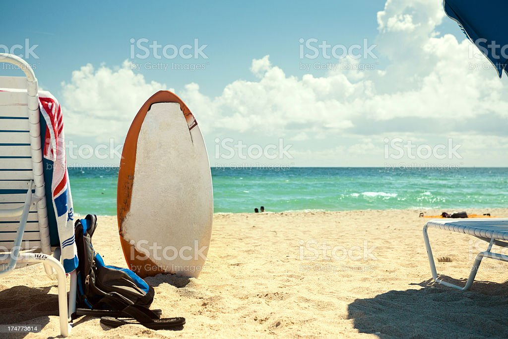 Skimboard at the beach stock photo