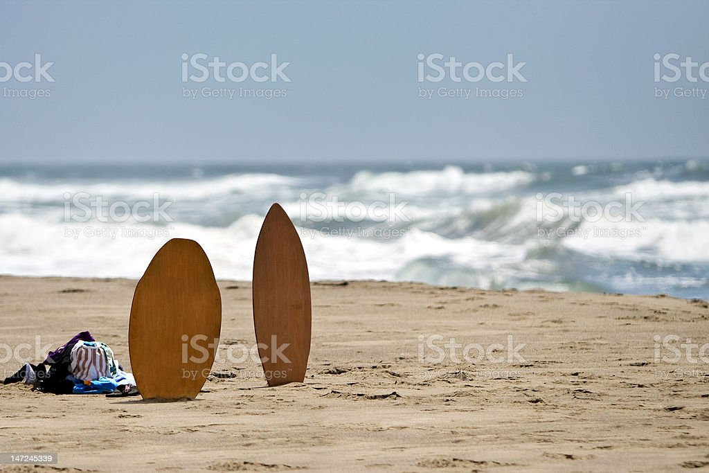 Skimboard on the Beach stock photo