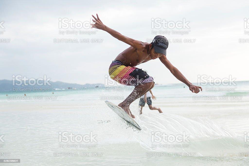 Skimboarding stock photo