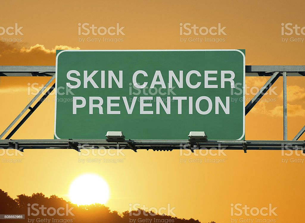 A road sign concept that says \'skin cancer prevention.\'