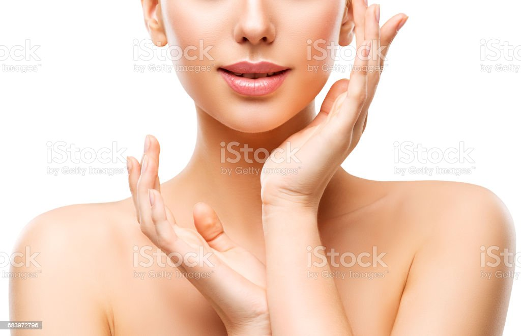 Skin Care Beauty, Woman Face Lips and Hands Skincare, Natural Clean Makeup stock photo