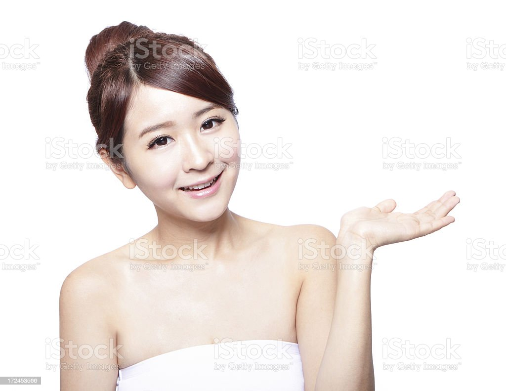 Skin care beauty woman showing copy space royalty-free stock photo