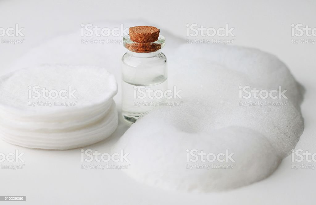 Skin care foam and cotton pads stock photo
