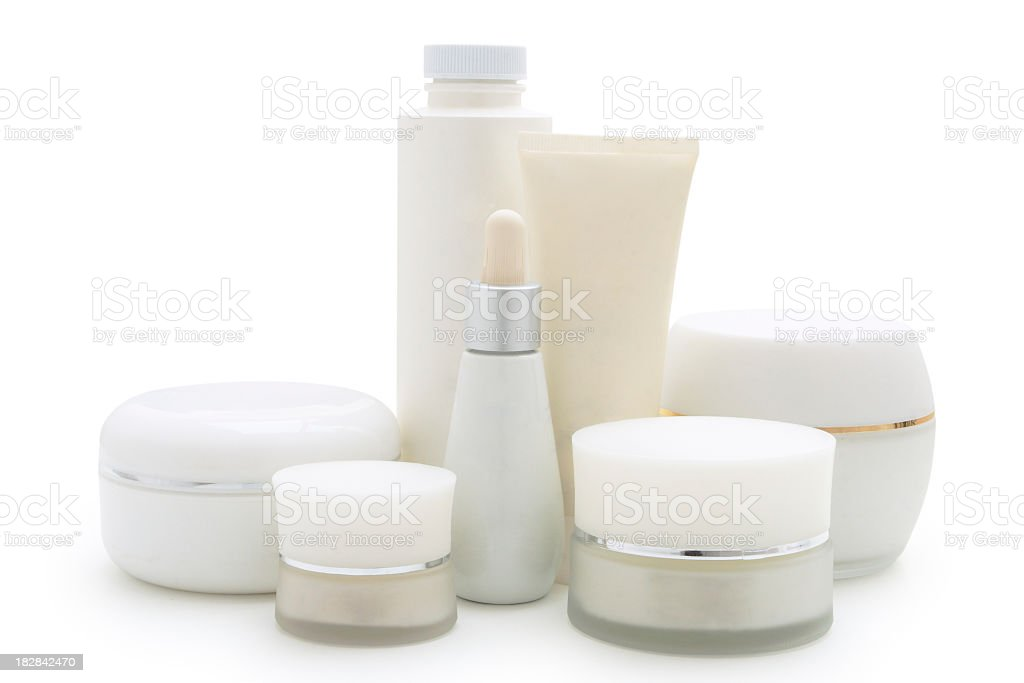 Skin care products for the beauty lady favor and smile royalty-free stock photo