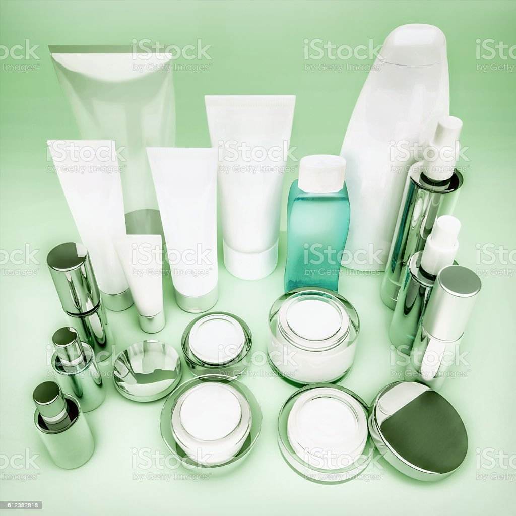 Skin care products on green. stock photo