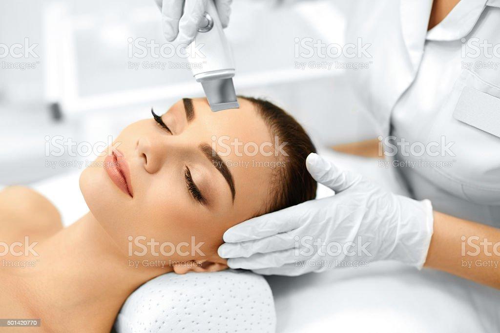 Skin Care. Ultrasound Cavitation Facial Peeling. Skin Cleansing stock photo