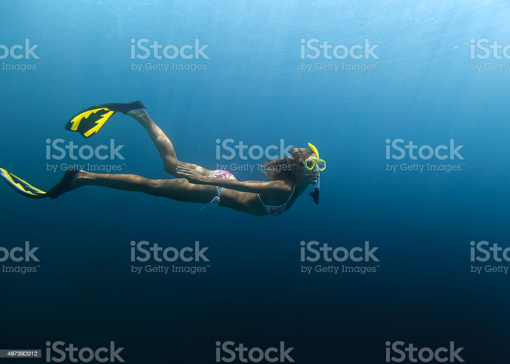 Skin diving in the ocean stock photo