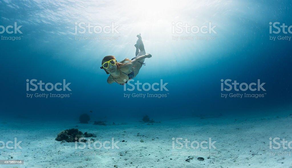 Skin diving in the ocean stock photo