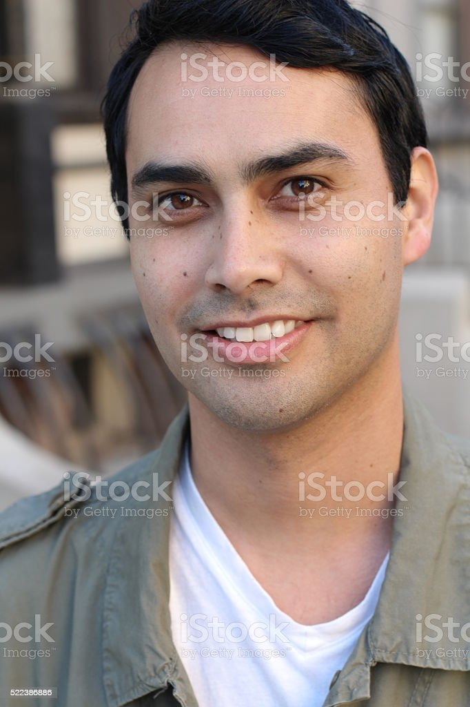 Skin of a man with moles stock photo