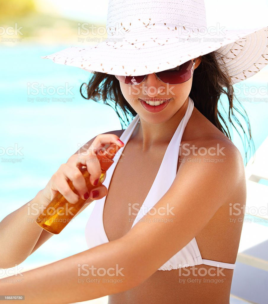 Skin protection during vacation. stock photo