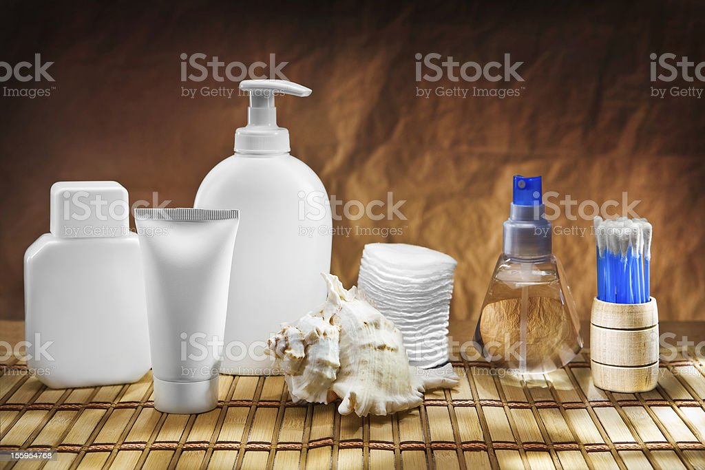 skincare accessories on mat stock photo