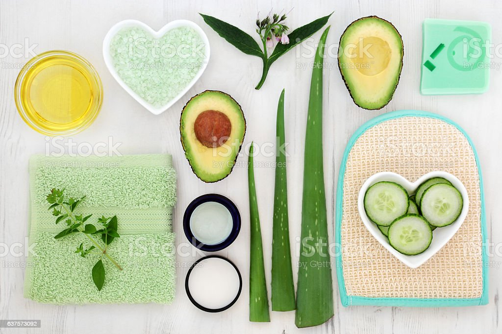 Skincare Ingredient Selection stock photo