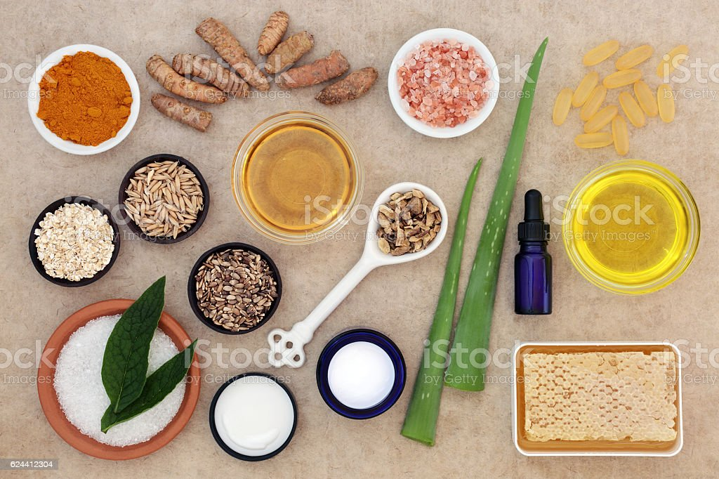 Skincare Ingredients to Soothe Psoriasis stock photo