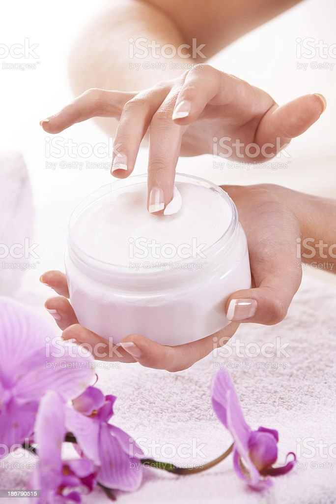 Skincare is important to her royalty-free stock photo