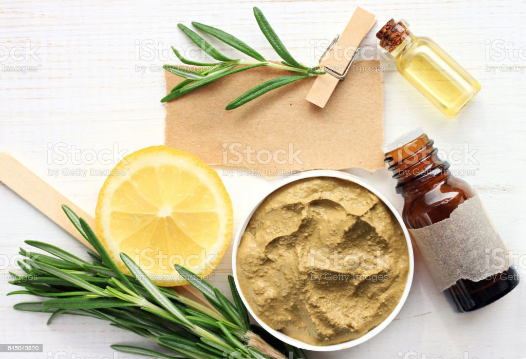 Skincare mask ingredients: clay, essential oils,rosemary stock photo
