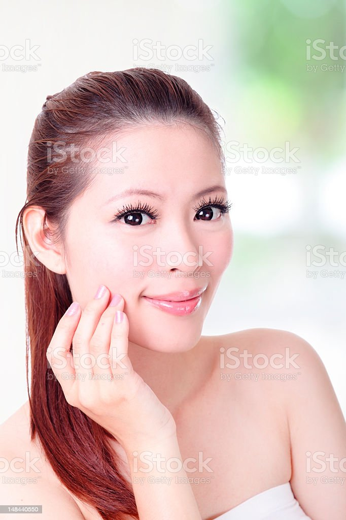 skincare woman smile face close up royalty-free stock photo