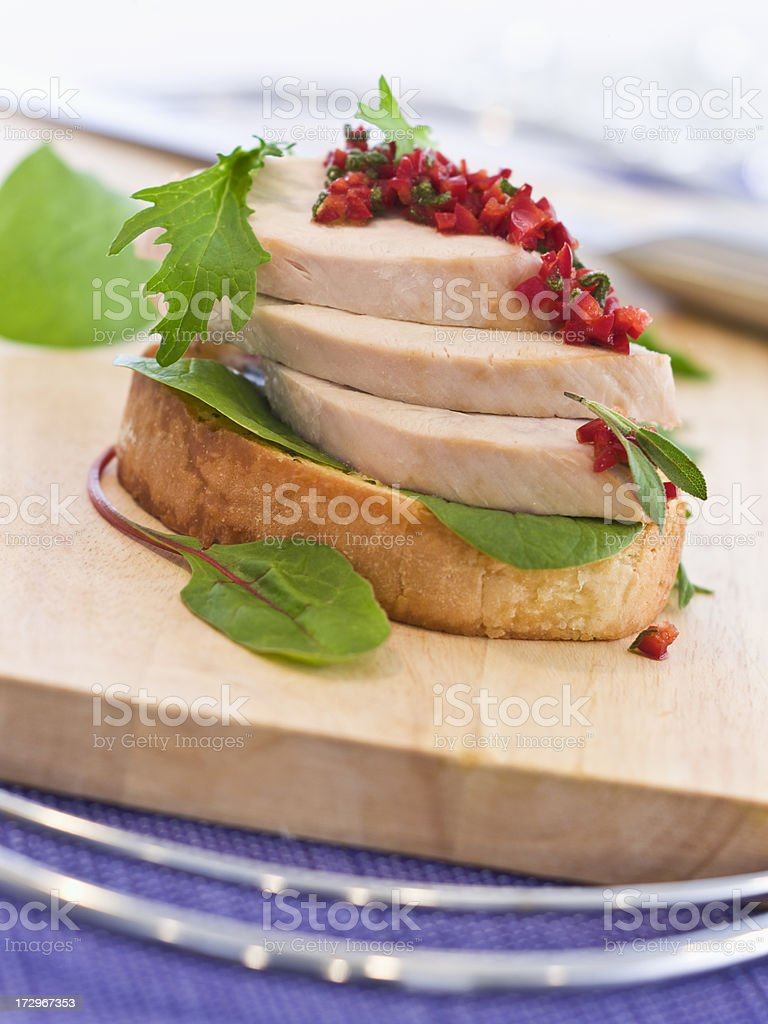Skinless Turkey Sandwich with Pepper Relish royalty-free stock photo