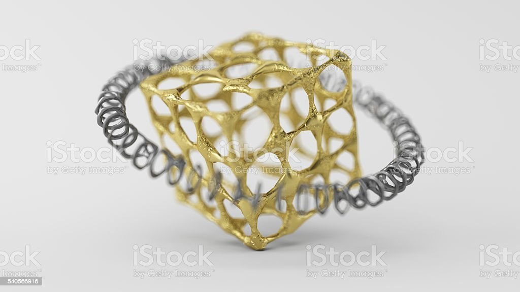 Skinned Particle Objects cube stock photo