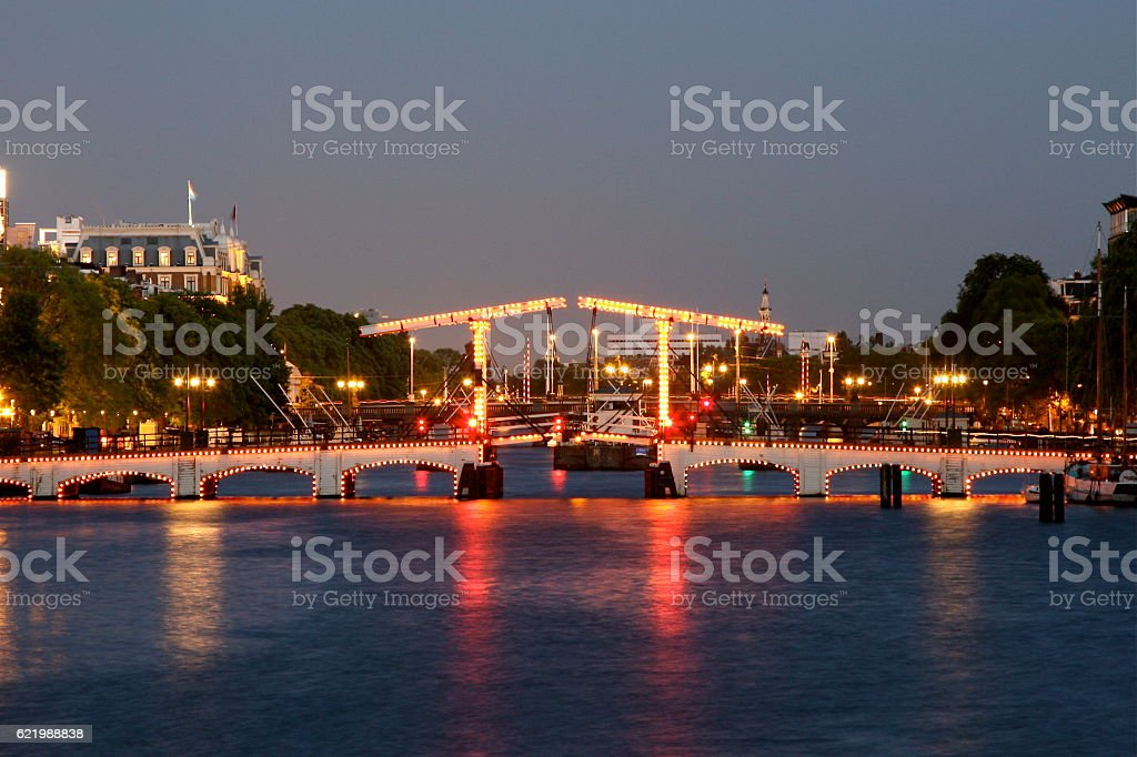 skinny bridge amsterdam early evening stock photo